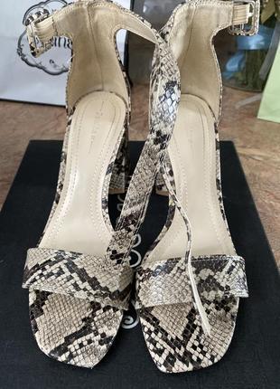 Босоножки на каблуке толстом змеиные принт