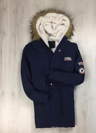F9 парка темно-синяя куртка с капюшоном с мехом