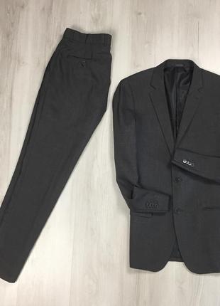 F9 n9 костюм f&f серый классический деловой брюки пиджак