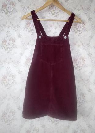 Вельветовый сарафан цвета бордо от top shop