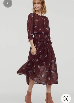 Шикарное шифоновое платье 👗 миди в цветочный принт h&m 38