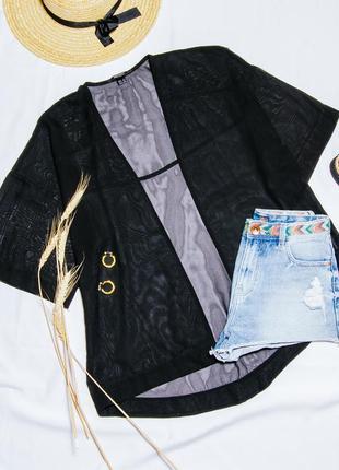 Шифоновый кардиган черный