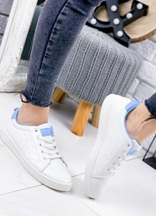 Женские белые кеды синие, кожаные на низкой подошве,  36 38 размер