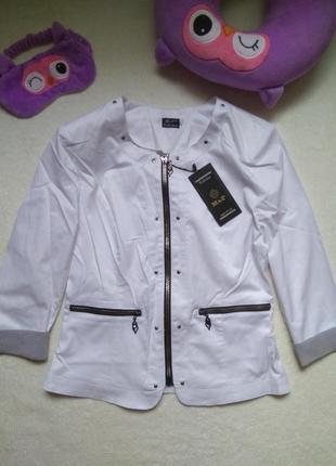 Очень крутой летний белый новый жакет пиджак с полосатыми манжетами