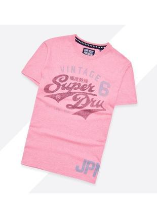 Superdry m-l* / яркая розовая футболка с большим винтажным принтом