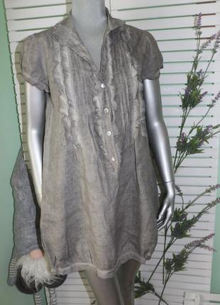 Серое платье туника лен с шелком luk up