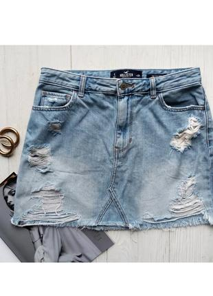 Джинсовая голубая синяя мини юбка с необработанным краем низом