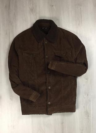 F9 джинсовая куртка вельветовая с мехом george коричневая