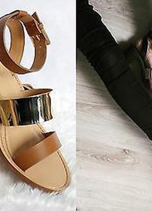 Zara trafaluc босоножки сандалии на широком каблуке с ремешком на щиколотке