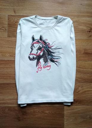 Трикотажный реглан с лошадкой