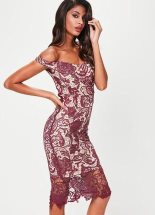 Кружевное миди платье