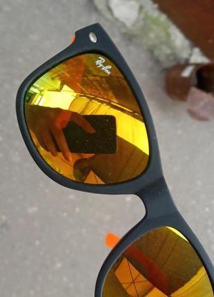 Вайфареры унисекс оранжевые зеркальные прорезиненные в стиле ray ban