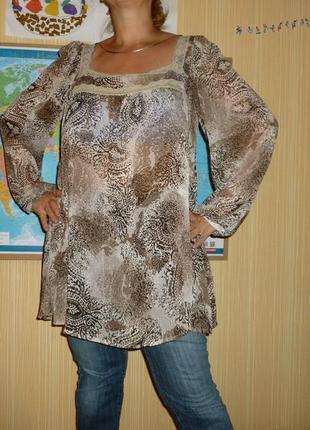 Бомбезная легкая свободная шифоновая блуза платье под джинсовку и под пояс atm
