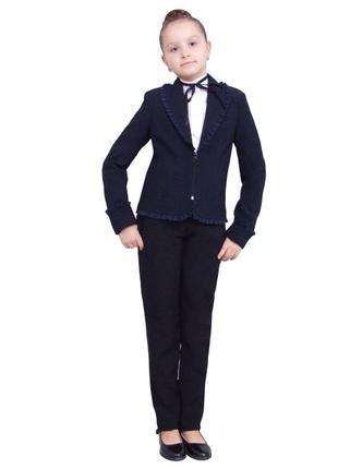 Пиджак школьный для девочки попелюшка 1097 синий рост 116  140 164 и 170