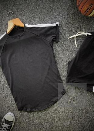 Летний мужской спортивный костюм комплект футболка и шорты