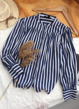 Лёгкая рубашка блузка из натуральной ткани в полоску с объёмными рукавами