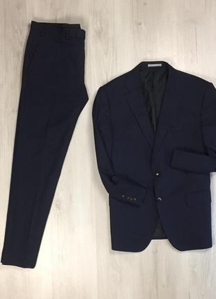 N9 f9 костюм m&s темно-синий деловой классический пиджак брюки