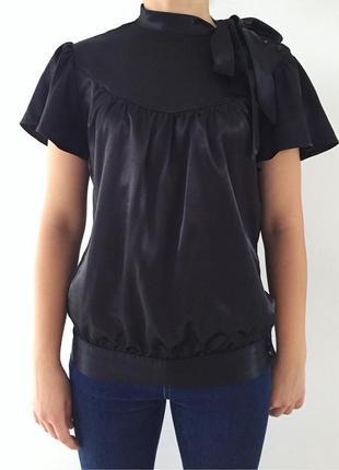 Блуза чорна, черная блуза, праздничная блузка, класична блузка.