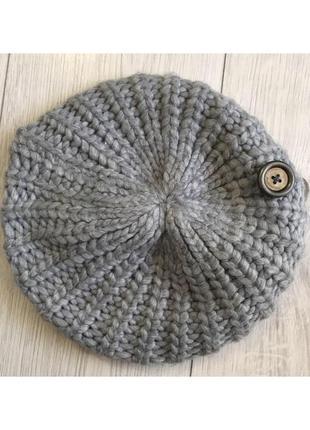 Шапочка-берет, серый берет, серая шапка от terranova.