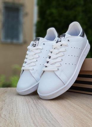 Кроссовки adidas stan smith белые с чёрным 🌶