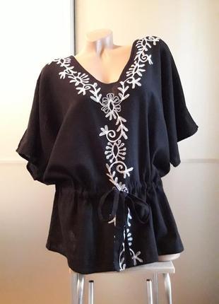 Натуральная блузка/блузон с вышивкой/хлопок под лен!