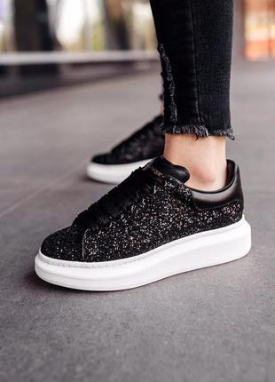 Alexander mcqueen «glitter-leather» black (кроссовки / кеды черные блестящие с камнями)
