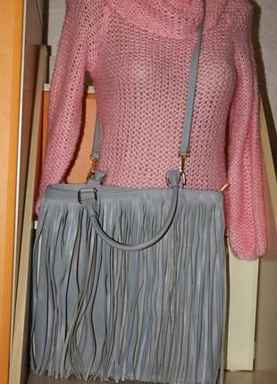 Кожаная сумка с бахрамой. италия