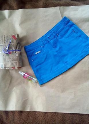 Джинс.юбка мини яркая голубая