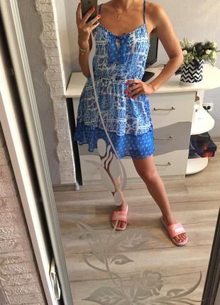Брендовый шифоновый сарафан платье hollister