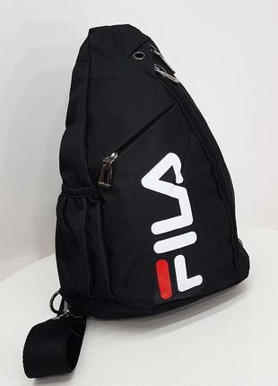 Мужская нагрудная сумка тканевая черная