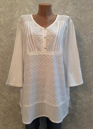 Хлопковая блуза шитье размер 14-16