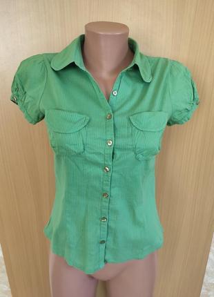 Легкая  хлопковая зеленая блуза рубашка с коротким рукавом от h&m