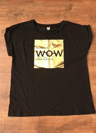 Новая хлопковая футболка с золотым принтом
