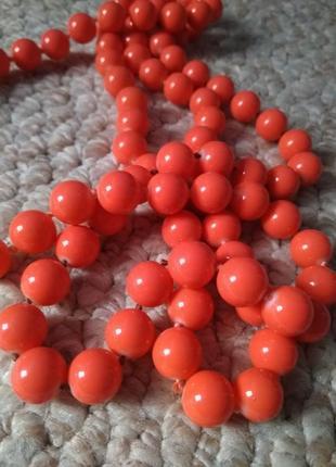 Длинные бусы кораллово-оранжевого цвета 🔥