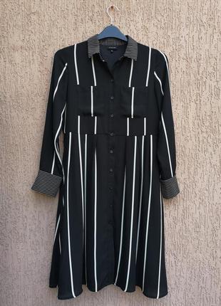 Платье рубашка миди в полоску