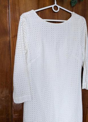 Белое молочное летнее платье плаття сукня мини с кружева прошовой с прошвы & other stories