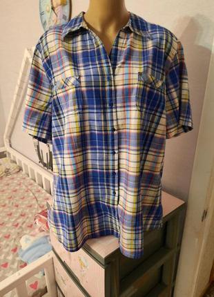 Легкая хлопковая рубашка в клеточку, 20 размер