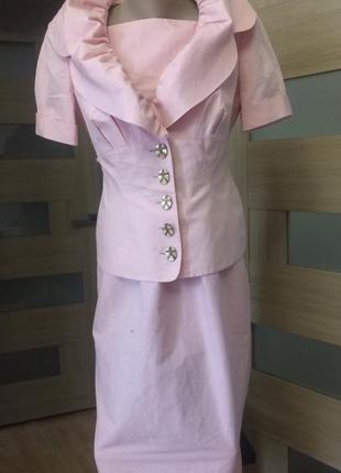 Salvatore ferragamo оригинал роскошный костюм сарафан и жакет
