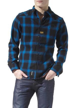 Сорочка рубашка оверширт g-star raw men's blue orson narvik checked overshirt  - м
