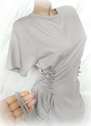 Стильное платье на шнуровке серо-лилового цвета от atm size usa 14