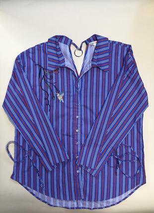 Сине красная полосатая рубашка с вышивкой с металлическим кольцом 100% хлопок