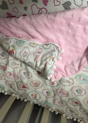 Одеяло детское одеялко плед плюш в мороженое