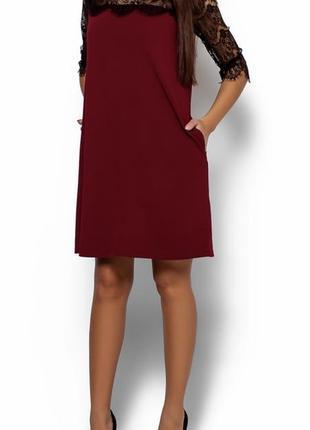 Бордовое платье karree с кружевом, р.m