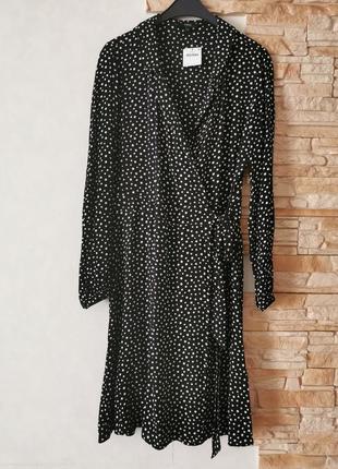Платье - халат, платье на запах из вискозы, в горох