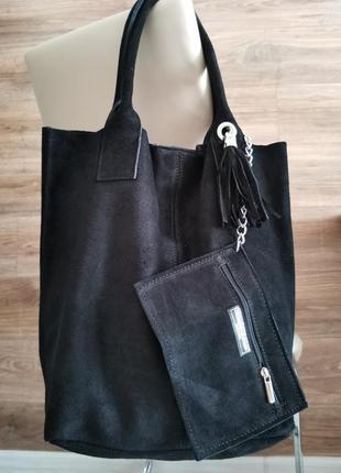 Женская черная сумка натуральный замш, брендовая vera pelle