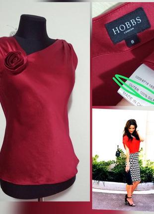 Фирменная яркая шелковая майка блузка с роскошным шелковым цветком 100% шелк