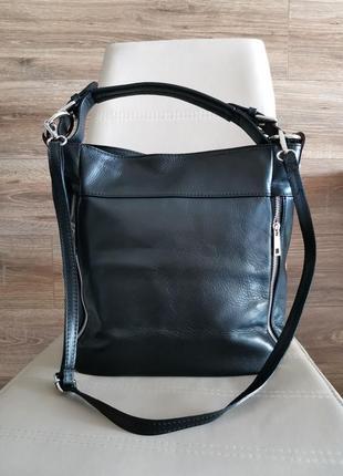 Женская черная кожаная сумка, бренд vera pelle