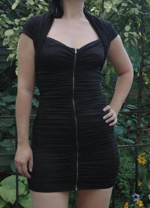 Черное вечернее коктейльное обволакивающее платье резинка