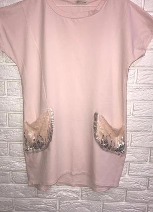 Пудровая хлопковая натуральная туника платье с карманами из пайеток