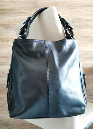 Женская черная кожаная сумка через плечо, vera pelle